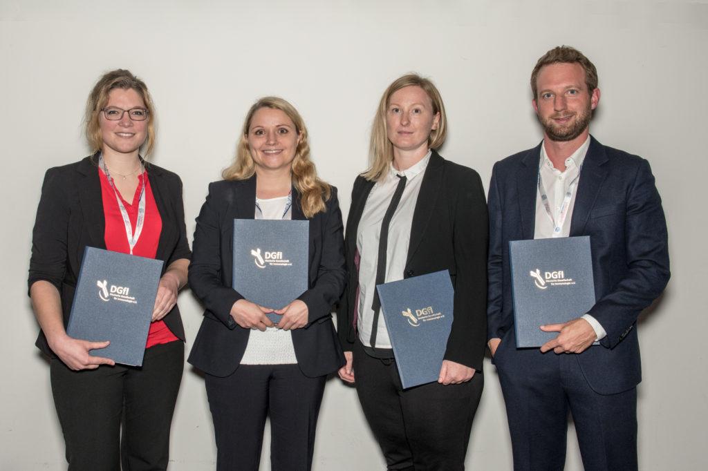 Die Preisträger der DGfI 2018: v.l. Eva Kaufmann (Werner-Müller-Preis), Carolin Daniel (Georges-Köhler-Preis), Susann Eichler (Herbert-Fischer-Preis) und Jan Böttcher (Fritz-und-Ursula-Melchers-Postdoktorandenpreis)